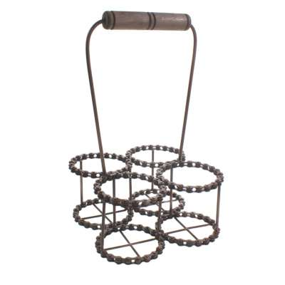 Wine bottle holder (4), recycled bike chain with handle