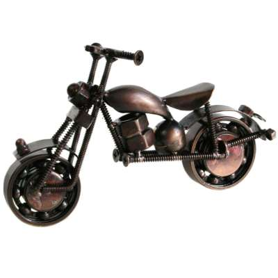 Model motorbike, recycled bike parts