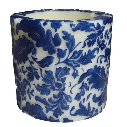 Candle damask leaf blue + white, 10cm recessed