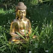 Buddha sandstone cast, gold colour 31cm