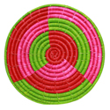 Raffia placemat, green base, 30cm