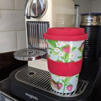 Reusable travel cup, biodegradable, strawberries and field mouse