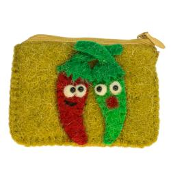 Felt purse red and green chilli