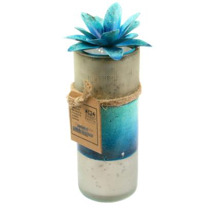 Candle in distressed recycled glass jar, Japanese Cherry Blossom, blue
