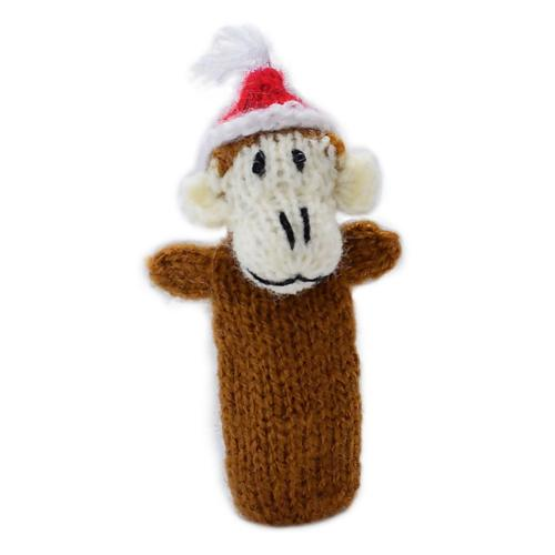 Finger puppet, monkey with Christmas hat