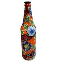 Incense burner bottle, painted, flowers on orange