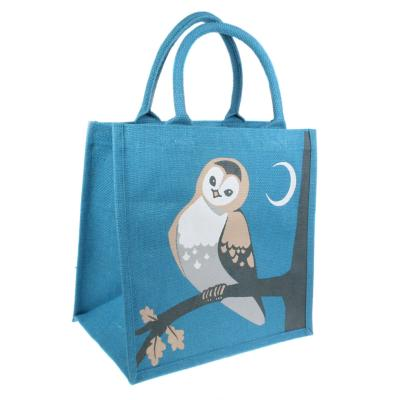 Jute shopping bag, square, owl