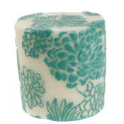 Candle Japanese chrysanthemum aqua + white, 7.5cm flat