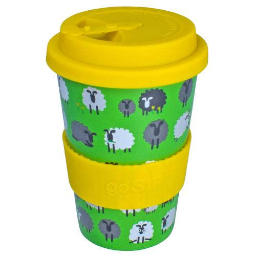 Reusable travel cup, biodegradable, sheep