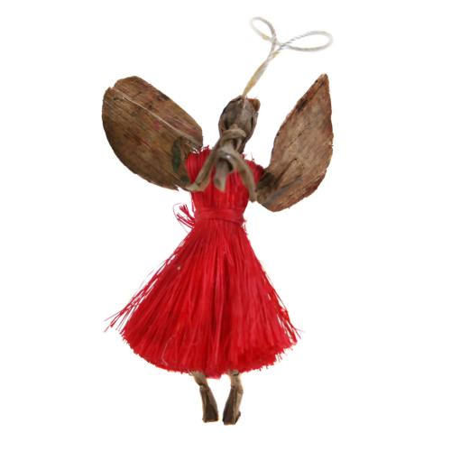 Hanging angel, red with flute