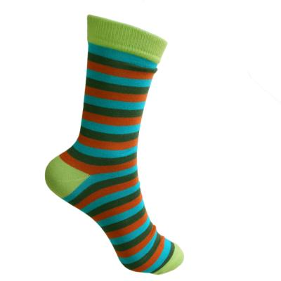 Bamboo socks, stripes turquoise terracotta green, Shoe size: UK 7-11, Euro 41-47