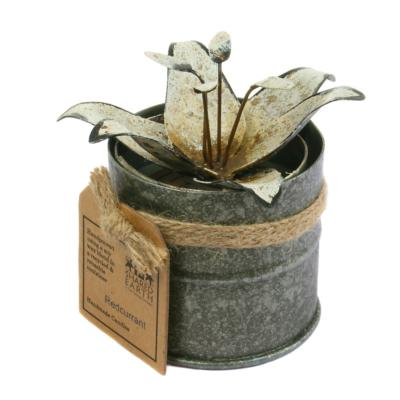 Candle in distressed recycled jar white water lily, Redcurrant