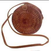 Shoulder bag, rattan, round, faux leather strap, brown