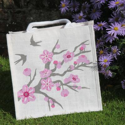 Jute shopping bag, square, cherry tree with swallows