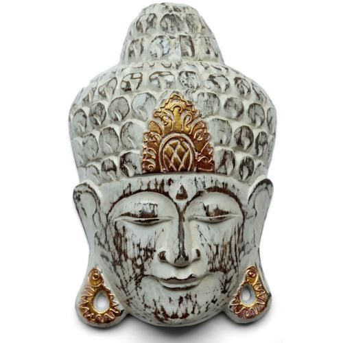Buddha mask wood, white 20x8x30cm
