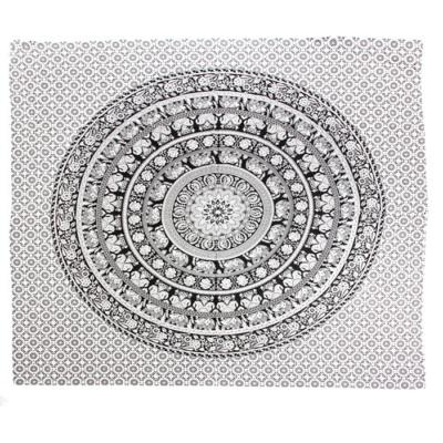 Throw/bedspread, 210x230cm, mandala elephant black on white
