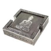 Aluminium set of 6 coasters, Buddha, 13x13x3.5cm **