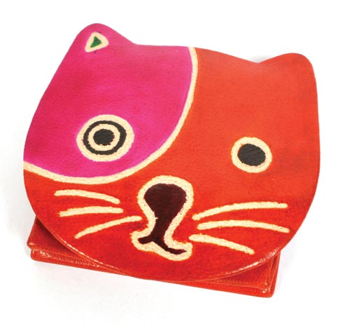 Leather coin purse cat red