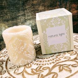 Candle pineapple damask white + ivory, 7.5cm recessed