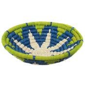 Raffia fruit basket, lime blue white, 24cm