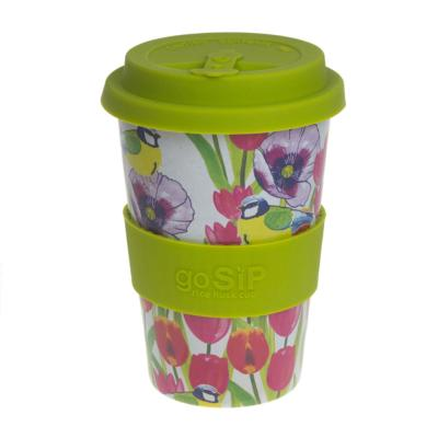 Rice husk cup 14oz, blue tit and tulips