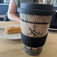 Reusable travel cup, biodegradable, gecko & dragonfly