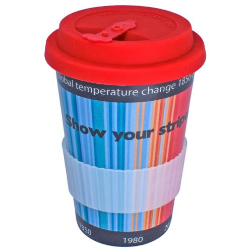 Reusable travel cup, biodegradable, show your stripes