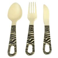 Bamboo cutlery set, zebra design