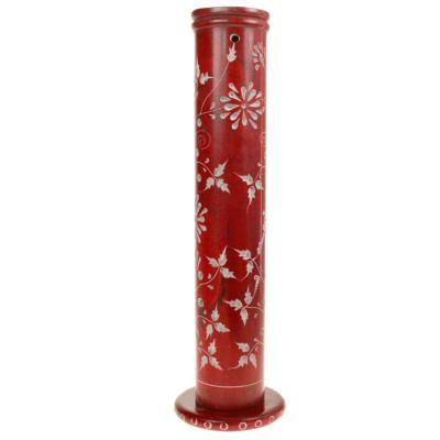 Incense holder, soapstone tower, red flower & leaf design