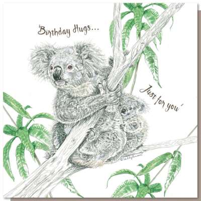 Greetings card, birthday hugs koala