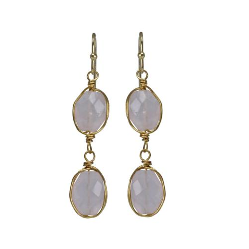 Earrings double drop rose quartz
