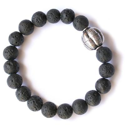 Bracelet, men's/unisex, chunky, elasticated, dark grey beads