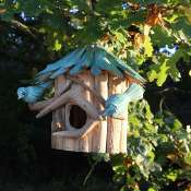 Birdhouse driftwood, blue roof, 2 birds 21cm height