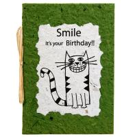 Birthday card, cat, green