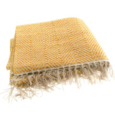 Cotton rug, herringbone pattern, yellow, 80x120cm