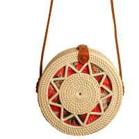 Shoulder bag, rattan, round, faux leather strap, cream star