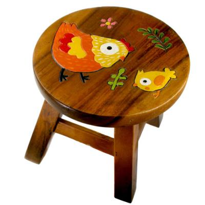 Child's wooden stool, hen and chick
