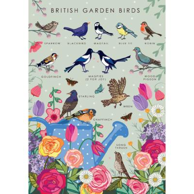 "Greetings card ""British garden birds"" 12x17cm"