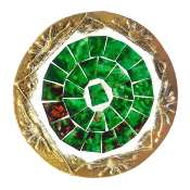 Set of 4 gold coloured round coasters, green mosaic