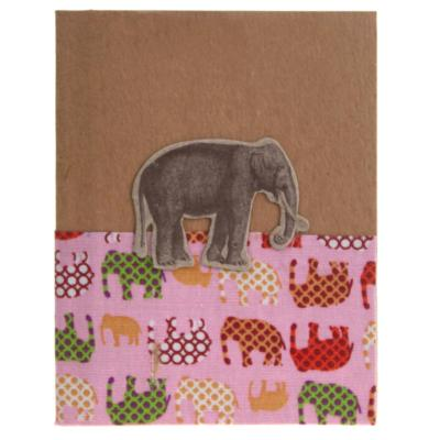 Notebook elephant, assorted textiles, 7x9cm