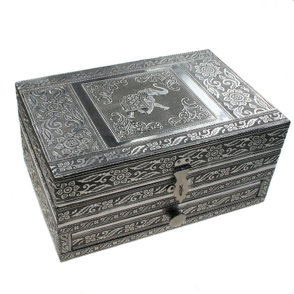 Aluminium Jewellery Trinket Box Elephant 22 5x15x11cm