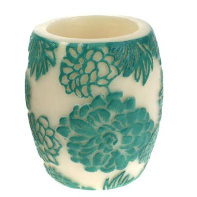 Candle Japanese chrysanthemum aqua + white, 10cm hurricane