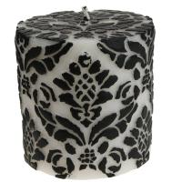 Candle pineapple damask black + white, 7.5cm flat