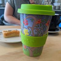 Reusable travel cup, biodegradable, tree of life - flowers