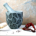 Pestle and mortar, leaf design