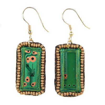 Earrings, recycled circuit board, rectangle