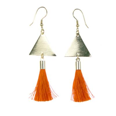 Earrings, gold coloured triangle with orange tassel