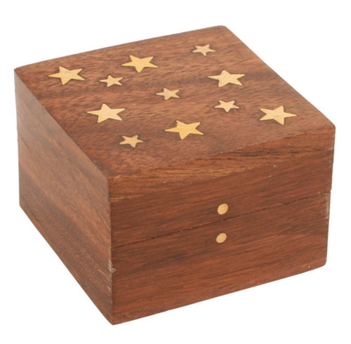 Shesham wood box with brass stars 4.5x6.5cm