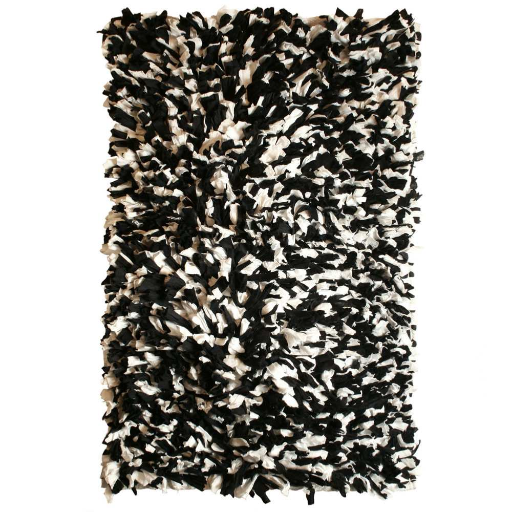 Fluffy Rag Rug Recycled Material Black White