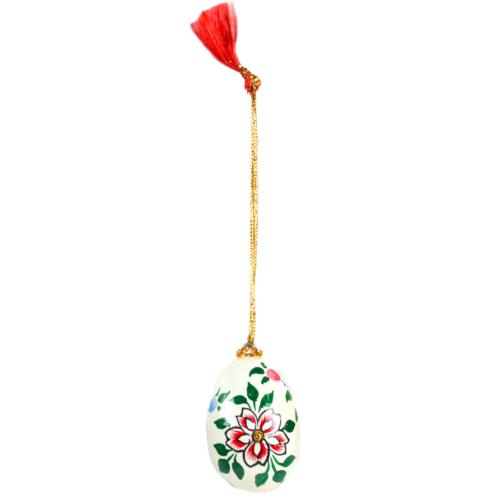 Hanging egg decoration, flowers on cream, papier maché, 4.5cm height